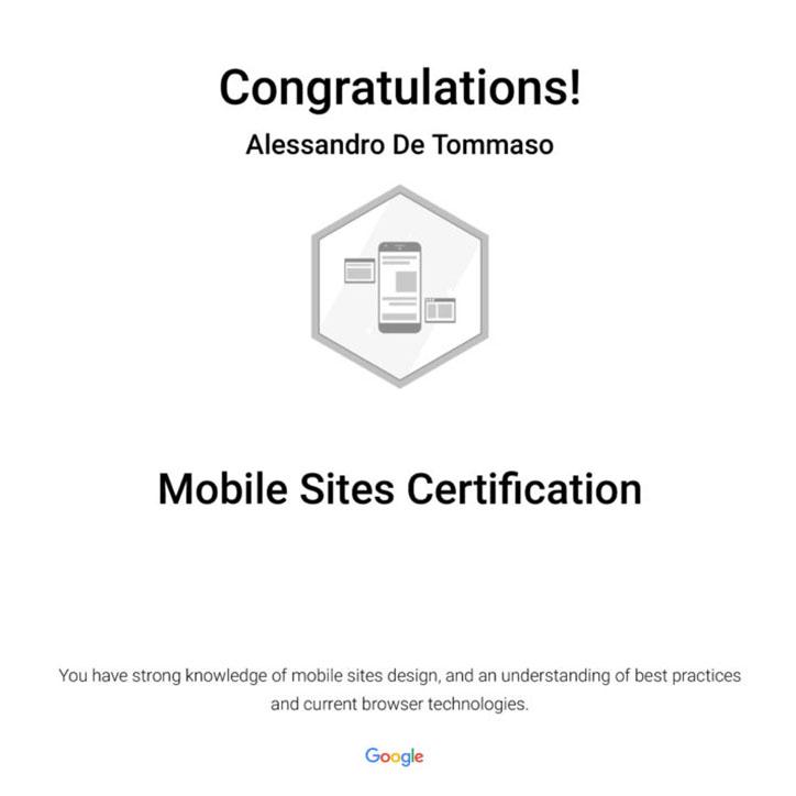 Google Mobile Site Certification