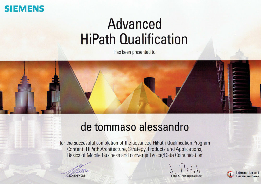 siemens advance certificate hipath