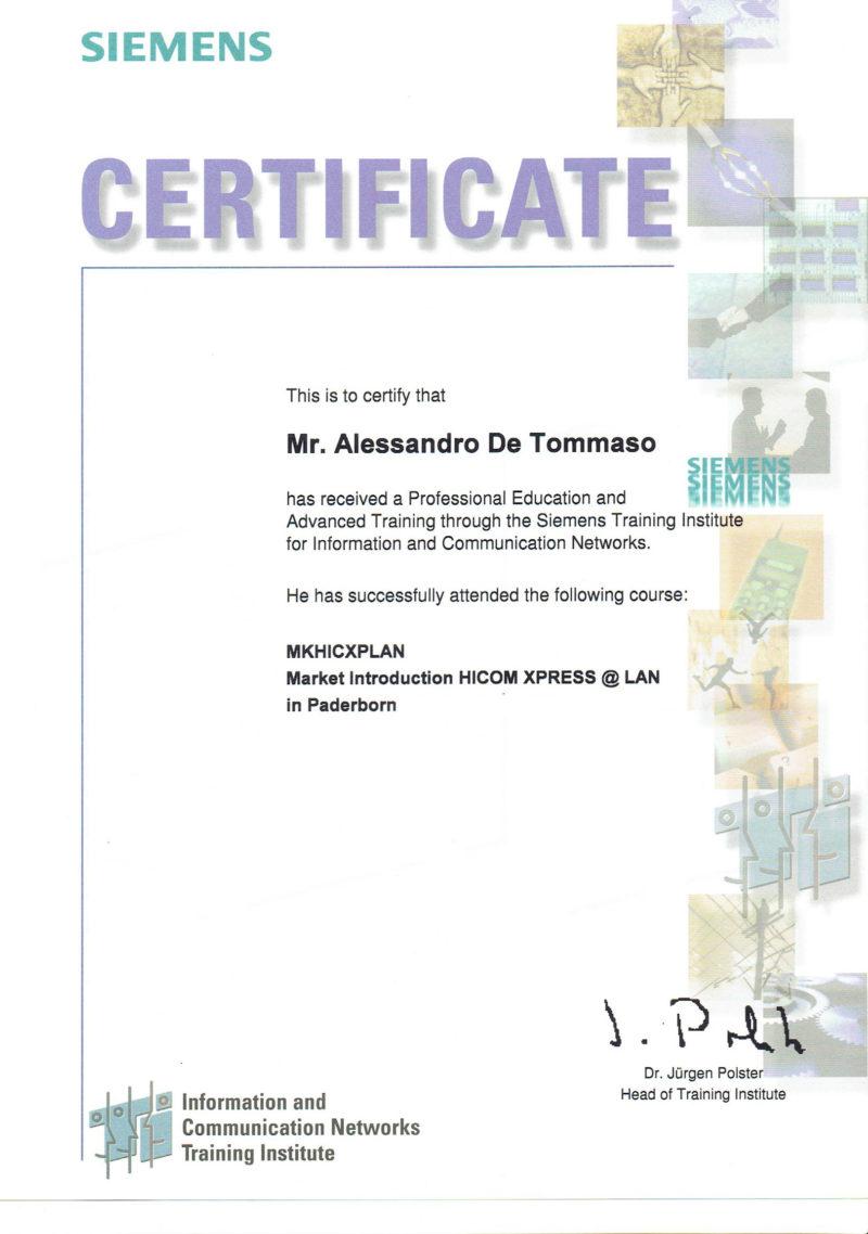 siemens market certificate